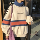 連帽T恤 半高領加絨連帽T恤女假兩件2019新款韓版寬鬆港風潮外套女冬加厚 3色M-2XL 交換禮物