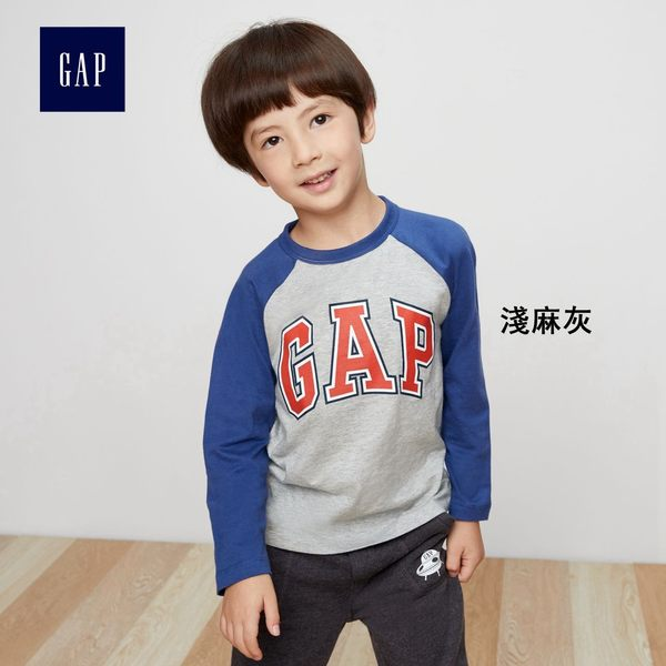 Gap男嬰幼童 logo純棉長袖T恤 新款秋季童裝兒童上衣357862-淺麻灰