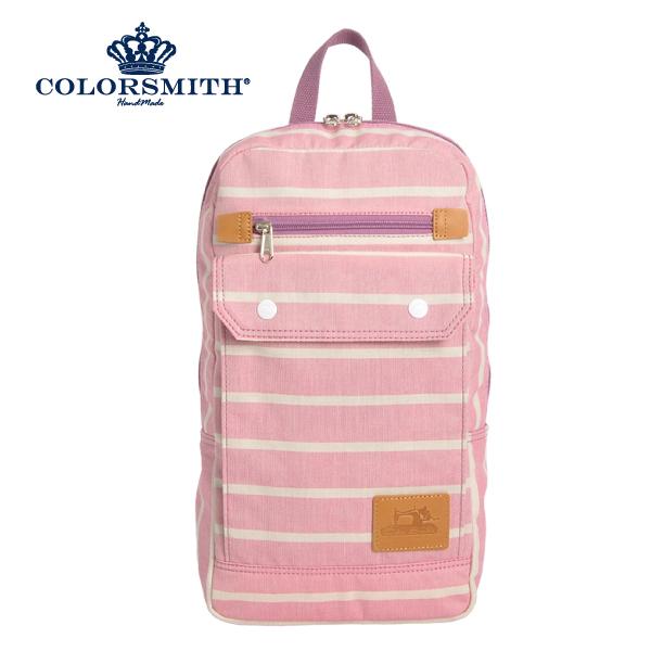 【COLORSMITH】PU・方型後背包-粉紅橫條紋・PU1327-PN