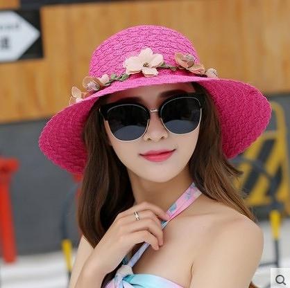 [協貿國際]韓版夏天帽子可折疊遮陽帽草帽花環盆帽玫紅