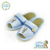 【クロワッサン科羅沙】Peter Rabbit TP斜格釦草蓆室內拖鞋 (藍22CM)