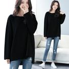 T728# 前短後長寬鬆t恤女長袖簡約秋...