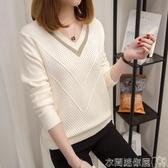 特賣毛衣針織衫女套頭短款韓版寬鬆秋裝新款長袖女士V領小清新毛衣