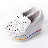 Clay Derman   鏤空晶鑽拼色內增高休閒鞋-白