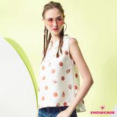 【SHOWCASE】蕾絲前襟性感女人點點印花無袖襯衫領上衣(白色)