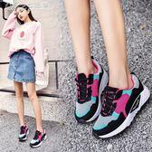 運動鞋 跑步鞋休閒鞋單鞋飛針織布面女網面透氣旅游鞋「Chic七色堇」