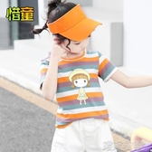 女童短袖T恤-女童夏季短袖2020新款童裝兒童全棉條紋T恤女孩洋氣打底衫針織衫 喵喵物語