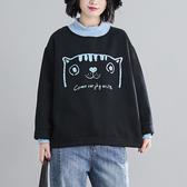 上衣 - A6339 撞色領貓咪上衣(內加絨)【F碼】