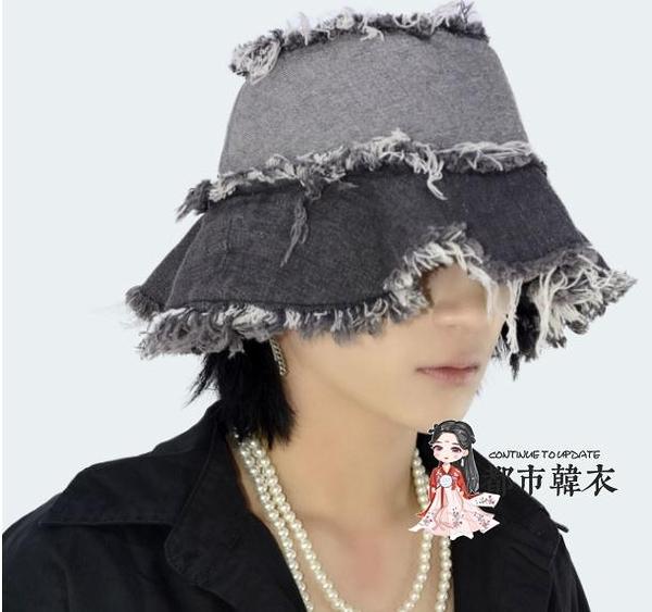 牛仔帽 19韓版自製復古水洗不規則破壞拉絲牛仔漁夫帽男女潮