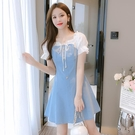 洋裝 小個子清新連身裙子女裝夏裝2021年新款氣質收腰顯瘦泡泡袖牛仔裙