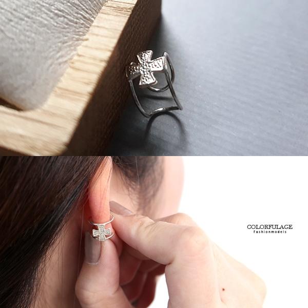 銀飾 鏤空十字耳骨夾純銀耳環NPD196