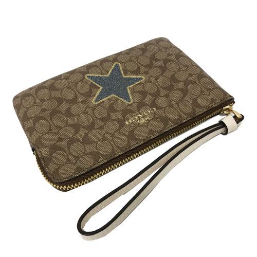 【COACH】經典C LOGO PVC皮革星星手拿包零錢包(咖)