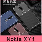 【萌萌噠】諾基亞 Nokia X71 (6.39吋) 時尚經典商務新款 碳纖維紋 創意甲殼蟲 全包軟殼 手機殼