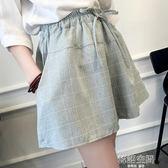 韓版棉麻格子短褲女潮寬鬆大碼顯瘦學生闊腿裙褲休閒熱褲 韓語空間