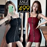 克妹Ke-Mei【ZT60809】SPICY網紅嫩模軍風釘釦皮肩帶連身洋裝