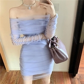 2021早秋新款女裝時尚性感一字領褶皺網紗包臀修身包臀禮服連身裙 韓國時尚週 免運