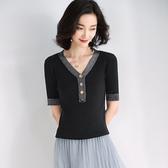 短袖針織衫-紐扣V領亮絲修身女T恤3色73xi2【巴黎精品】