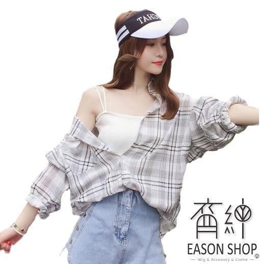 EASON SHOP(GW1827)韓版簡約撞色格紋薄款前短後長單口袋泡泡袖長袖襯衫外套女上衣服落肩防曬衫罩衫