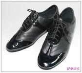 節奏皮件~國標舞鞋男拉丁舞鞋編號211A 黑皮x 黑漆