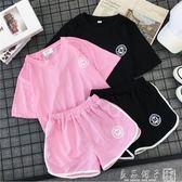 短褲套裝女夏2019新款寬鬆學生韓版休閒百搭bf跑步運動服兩件套潮      良品鋪子