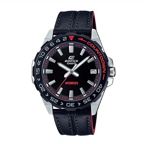 CASIO手錶專賣店 EDIFICE EFV-120BL-1A 簡約時尚指針男錶 皮革錶帶 黑紅跳色 防水100米 EFV-120BL