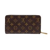 【台中米蘭站】全新展示品 Louis Vuitton Monogram 帆布紅內裡寬版拉鍊長夾(M41896-咖)