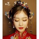 限定款中式景泰藍新娘造型鳳冠頭飾古裝髮釵...