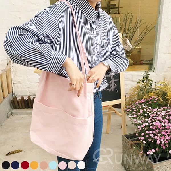 【R】素面 文藝 雙口袋 帆布單肩包 簡約 大容量 購物袋 托特包