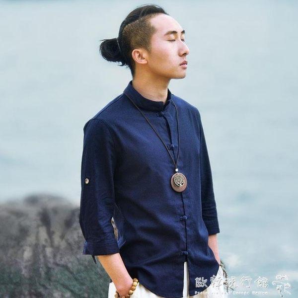 男士漢服棉麻襯衫亞麻立領盤扣七分袖上衣復古男唐裝夏  歐韓流行館