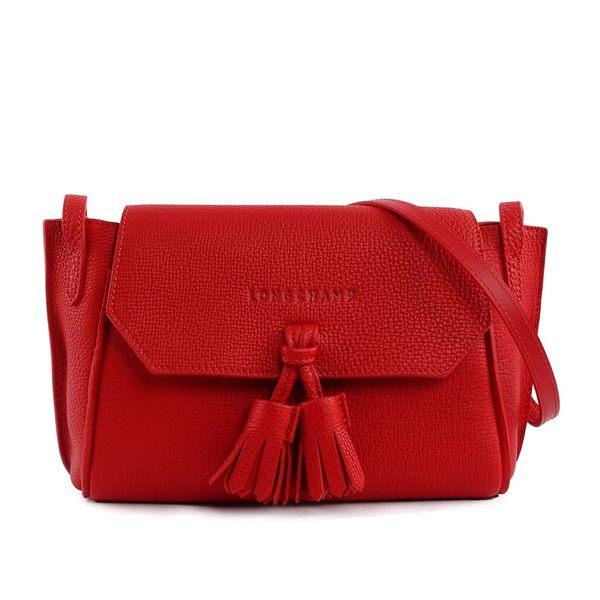 【LONGCHAMP】 PENELOPE小號流蘇小牛皮斜背包(紅色) 2066843545