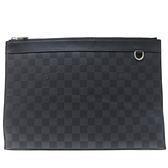 LV 黑色棋盤格DAMIER GRAPHITE 帆布手拿包/收納袋 POCHETTE VOYAGE N60336