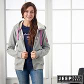 【JEEP】女裝 運動風撞色刺繡長袖外套 (灰)