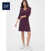 Gap女裝 時尚長款圓領休閒裙裝493698-深紫紅色