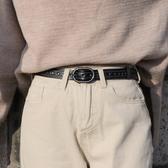 全孔皮帶女簡約百搭黑色韓國腰帶裝飾細青少年學生牛仔褲帶韓版潮