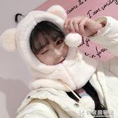 女士帽子兔子耳朵女秋冬季甜美可愛冬天毛絨圍巾一體韓版百搭護耳保暖 快意購物網