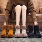 雪靴女羊卷毛毛鞋保暖加絨棉鞋女平底短靴子潮女鞋  『魔法鞋櫃』