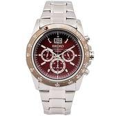 SEIKO LORD 賽車疾速風格的計時手錶(SPC243P1)-酒紅色面/44mm