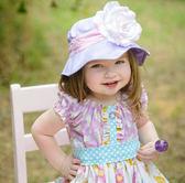 嬰幼兒防曬遮陽帽: 玫瑰: 薰衣草紫粉格紋: FTH-26