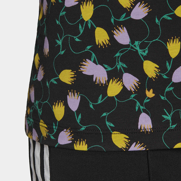 ADIDAS ORIGINALS BELLISTA 女裝 短袖 休閒 純棉 花卉 滿版碎花 三葉草 黑【 運動世界】FL4112