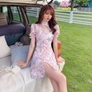 VK精品服飾 中國風改良旗袍雪紡印花珍珠優雅短袖洋裝