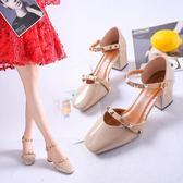 涼鞋 女鞋款休閒單鞋包頭一字扣帶潮款粗跟正韓鉚釘高跟鞋-新主流