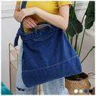 斜背包-無印風刷舊感手提/斜背帆布袋-共4色-A17172938-天藍小舖