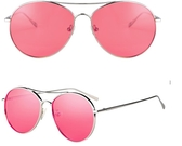 2020新款韓版潮透明粉色網紅墨鏡女街拍彩色太陽鏡gm復古圓臉眼鏡