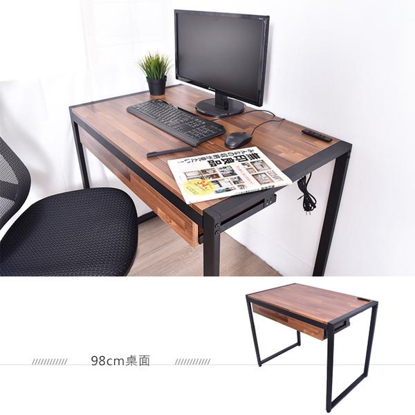 簡約書桌 北歐 書桌 工作桌 凱堡 拼木工作桌電腦桌書桌 工業風98公分 充電插座 【B15060】