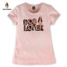Hush Puppies T恤 女裝復古字母印花下襬寬鬆T恤