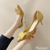 高跟鞋女細跟尖頭單鞋女夏季新款韓版法式少女百搭網紅貓跟鞋 黛尼時尚精品