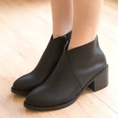 靴子.MIT百搭簡約V口高跟短靴.白鳥麗子