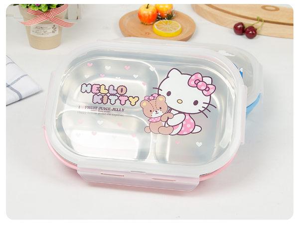 【HelloKitty哆啦A夢】304不銹鋼飯盒分格便當盒小學生兒童長方形多格分隔餐盤盒