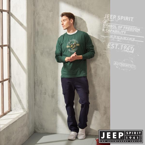 【JEEP】休閒素面LOGO長袖TEE (綠色)