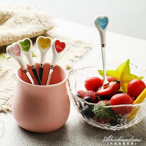 北歐風ins不銹鋼水果叉創意可愛家用水果簽歐式小奢華小叉子套裝 黛尼時尚精品